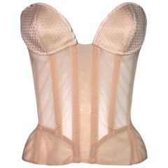 1990's Thierry Mugler Sheer Nude Pin-Up Wasp Waist Corset Bustier Top