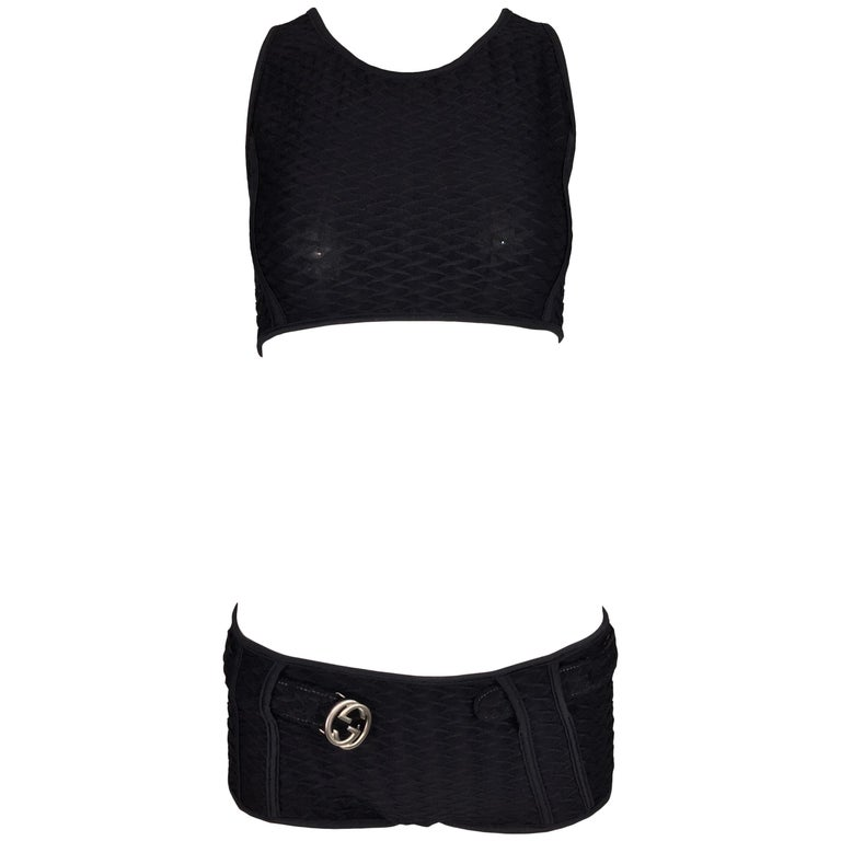 90adf65f9 S/S 1996 Gucci Tom Ford Black Bond Girl Crop Top and Shorts Logo ...