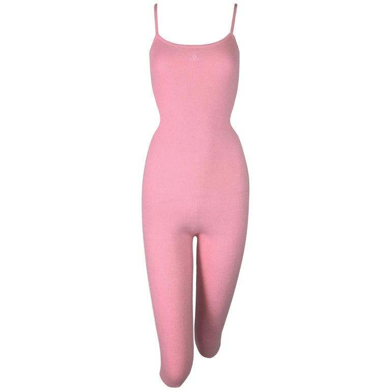 F/W 1994 Chanel Bubblegum Pink Cashmere Logo Jumpsuit Catsuit For Sale