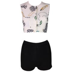 S/S 1996 Chanel Logo Lipstick Print Crop Top & High Waist Black Knit Shorts