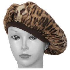40's chic panther print fur baret hat