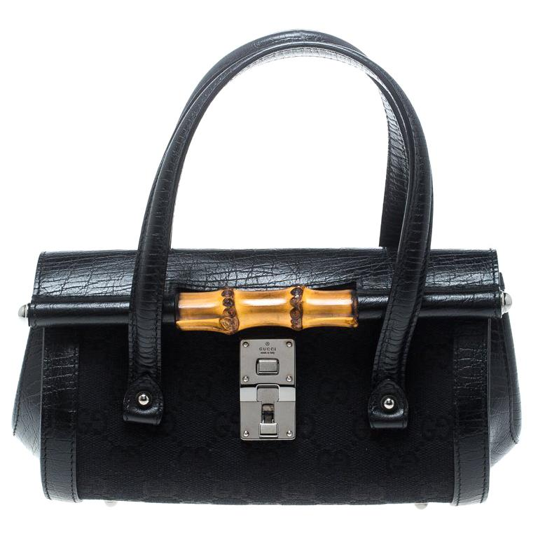 70102adf1fb60 Gucci Black GG Canvas and Leather Mini Bamboo Bullet Satchel For Sale. Bags  from ...