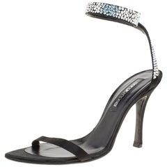 Sergio Rossi Black Satin Crystal Embellished Ankle Wrap Open Toe Sandals Size 39
