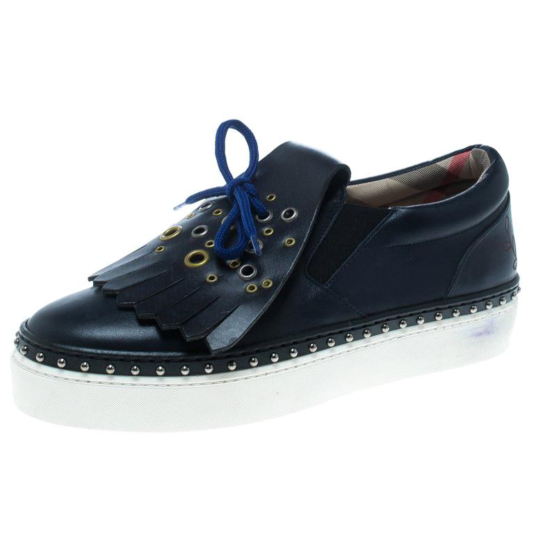 f42e8cc989b Burberry Navy Blue Leather Kiltie Fringe Slip On Sneakers Size 37 For Sale