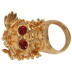 Alexander McQueen Shiny Butterfly Skull Cocktail Ring - gold/red