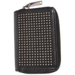 Saint Laurent Studded Mini Zip-Around Wallet - black