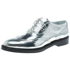 Burberry Metallic Silver Brogue Leather Gennie Lace Up Oxfords Size 40