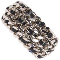 Saint Laurent Chain Cuff Bracelet - silver/black