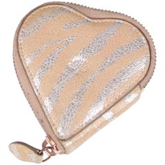 Mulberry Heart Shaped Zip Purse - beige/metallic