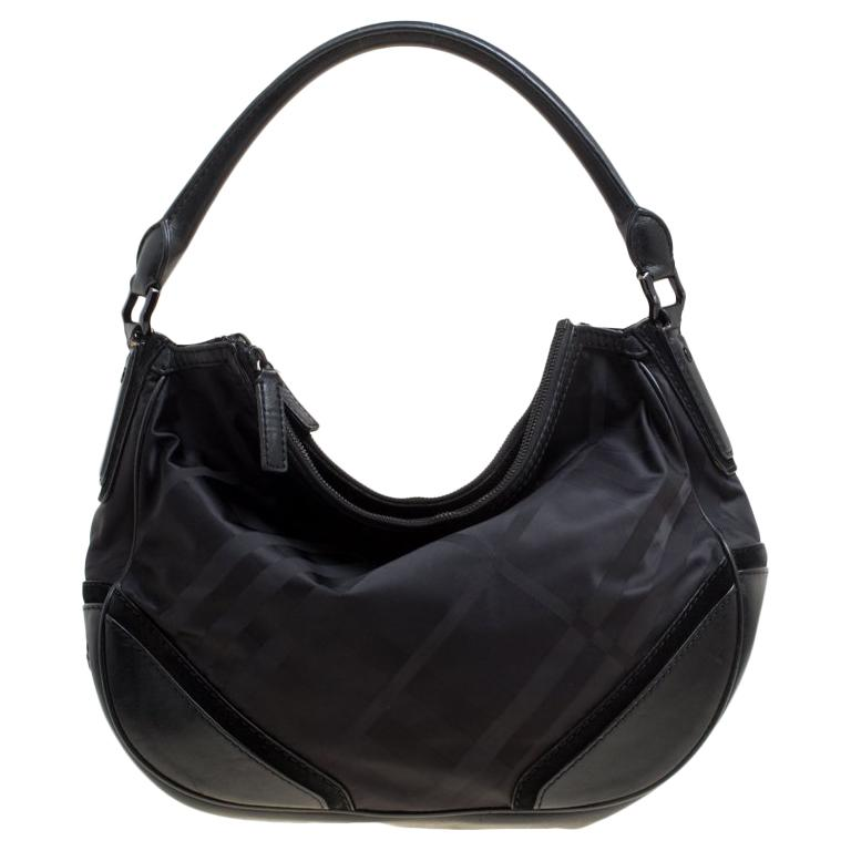 a63d6a65ad4a Burberry Black Tonal Check Nylon Medium Maskell Hobo For Sale at 1stdibs