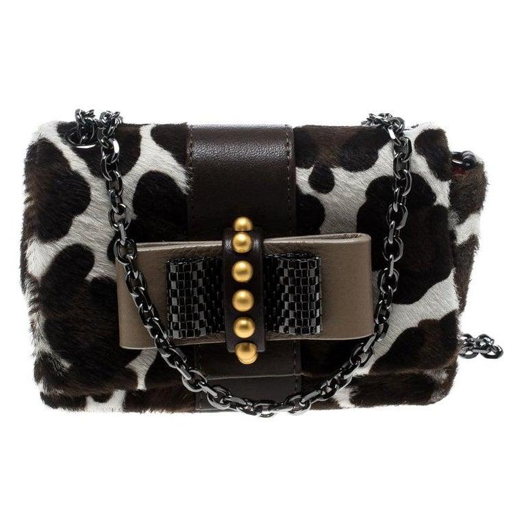 c17072deb47b Christian Louboutin White Animal Print Calfhair Mini Sweet Charity Shoulder  Bag For Sale