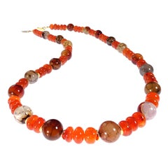Glowing Orange Carnelian and Spiderweb Jasper 26 Inch Necklace