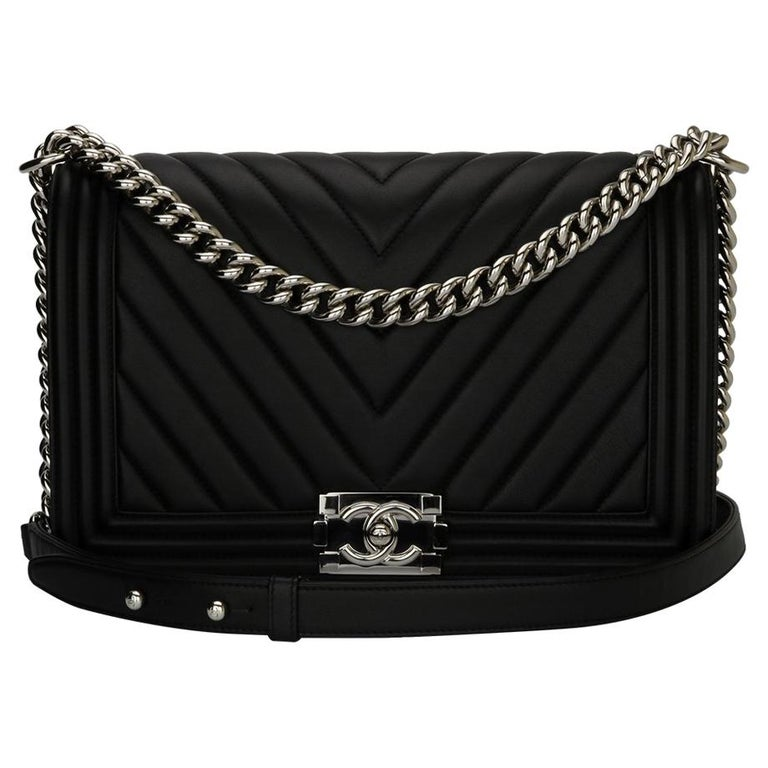 84f3f9d1f055 CHANEL New Medium Chevron Boy Bag Black Calfskin with Shiny Silver Hardware  2016 For Sale
