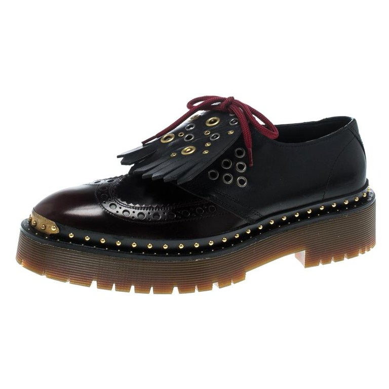 9198b329d3a Burberry Two Tone Brogue Bissett Fringe Detail Lace Up Platform Derby size  37.5 For Sale