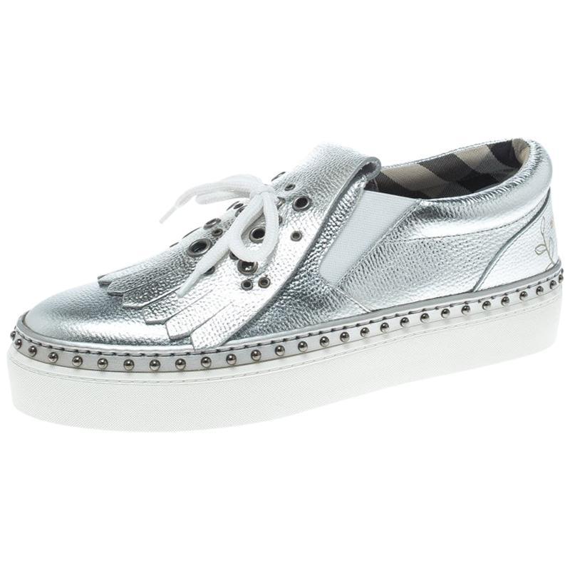 On Burberry Silber Slip Kiltie Fringe Detail Metallic Größe Sneaker dCtxQoshrB