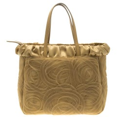Alberta Ferretti Beige Net and Satin Tote