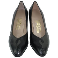 Vintage Ferragamo Black & Charcoal Gray Leather Shoes