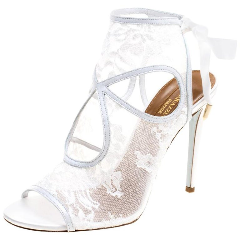0c5ebed6ea8 Aquazzura White Lace and Leather Sexy Thing Bridal Cut Out Sandals Size 38  For Sale