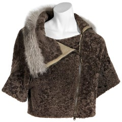 Brown Brunello Cucinelli Shearling Cropped Jacket