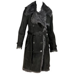 Grey Burberry London Shearling Trench Coat