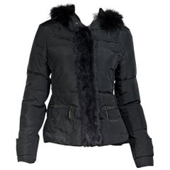 Dark Grey Roberto Cavalli Fur-Trimmed Puffer Coat