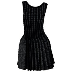 Black & Grey Alaia Woven Fit-and-Flare Dress