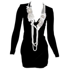 Black Balmain Embellished Velvet Mini Dress