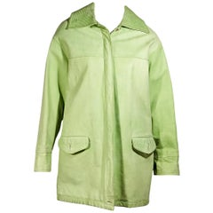 Light Green Vintage Versus Gianni Versace Leather Coat