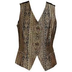 Metallic Gold Vintage Christian Dior Brocade Vest