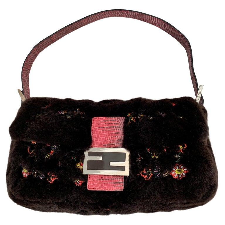 608831b15354 Rare Vintage Fendi Fur Beaded Lizard Chocolate Baguette Bag For Sale ...