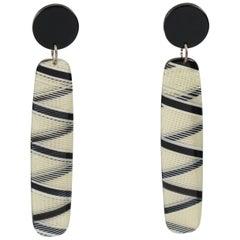 Modernist Dangling Drop Lucite Pierced Earrings Black & White Geometric Pattern