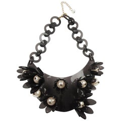 Italian Designer Transparent Gray Lucite Bib Necklace Huge Flower and Pearl