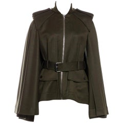 New Alexander McQueen Olive Green Wool Cape Jacket Coat Size 4/6