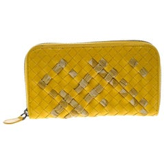 Bottega Veneta Yellow Intrecciato Nappa Leather Zip Wallet