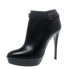 Burberry Black Leather Cross Strap Platform Ankle Boots Size 37