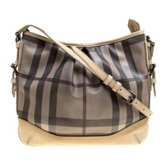 Burberry Beige Smoke Check PVC and Leather Crossbody Bag