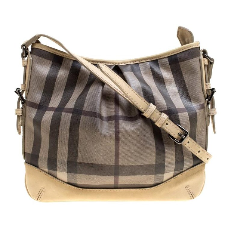 Burberry Beige Smoke Check PVC and Leather Crossbody Bag For Sale
