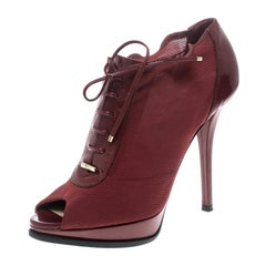 Red Elasticated Mesh and Patent Leather Lace Up Peep Toe Ankle Booties Size 37