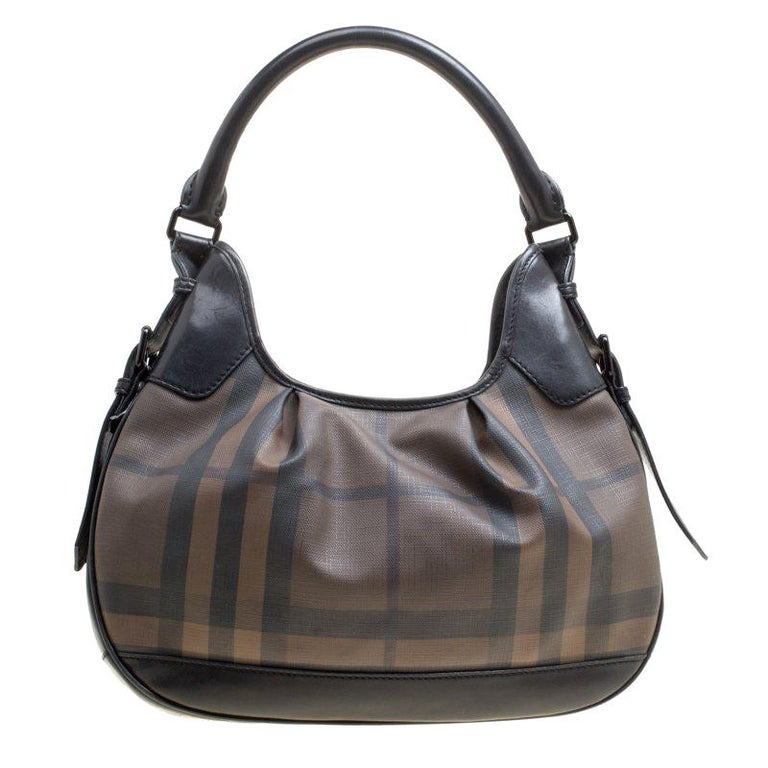 Burberry Brown Black Nova Check PVC and Leather Small Brooklyn Hobo For Sale 699d4c99ac074