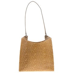 Bally Light Brown Signature Embossed Leather Hobo