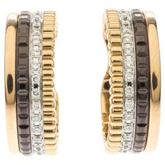 Boucheron Quatre Classique Diamond PVD 18k Three Tone Gold Hoops Earrings