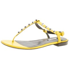 7894054a4 Balenciaga Yellow Leather Arena Studded Thong Sandals Size 38