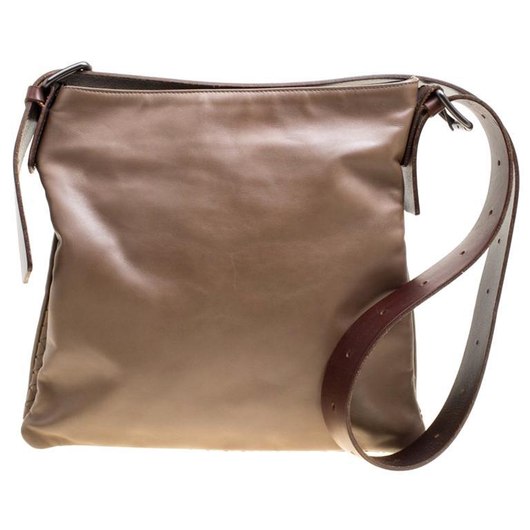 Bottega Veneta Brown Leather Messenger Bag For Sale