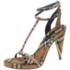 8df2d50dce7 Burberry Beige Novacheck Fabric Hans T Strap Sandals Size 38.5. Burberry  Beige Leather Reyardson Wedge ...