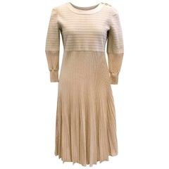 Chanel Nude Pleated Dress SIZE US 8/ UK 12