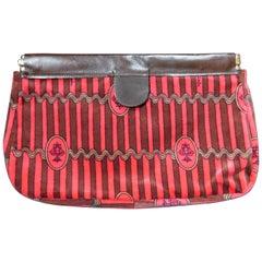 Vintage Emilio Pucci Baumwolle Druck Braun-Rosa Gestreifte Samt Clutch Handtasche