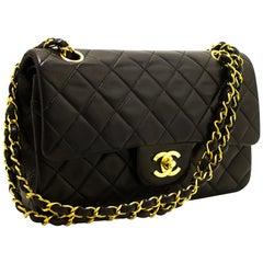 "CHANEL 2.55 Double Flap 9"" Chain Shoulder Bag Lambskin Black"