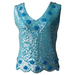 Vintage Aqua Blue Cashmere Hand Beaded and Sequined Sleeveless V Neck Top