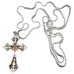 Sterling Silver Cross  With Sterling Silver Box Chain
