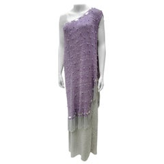 Adolfo  Purple & Silver Knit Chrome Chain Fringed Gown